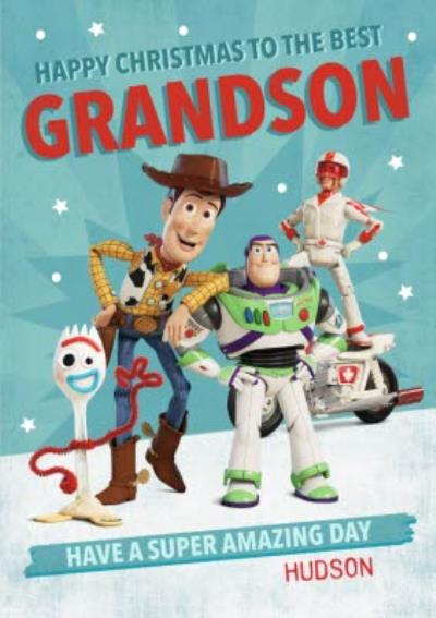 Toy Story 4  Characters Christmas Cards To the Best Grandson