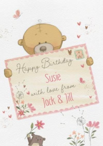 Cute Uddle Personalised Envelope Birthday Card