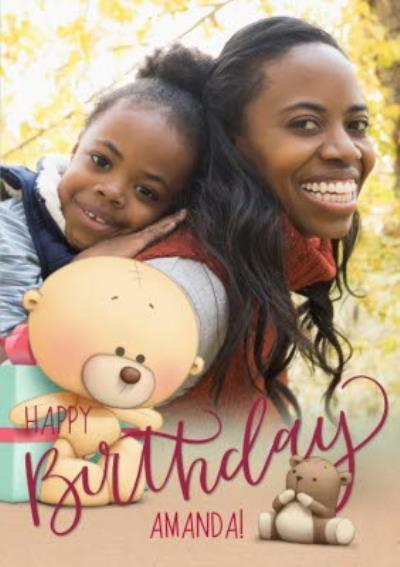 Teddy Bear And Presents Happy Birthday Photo Card