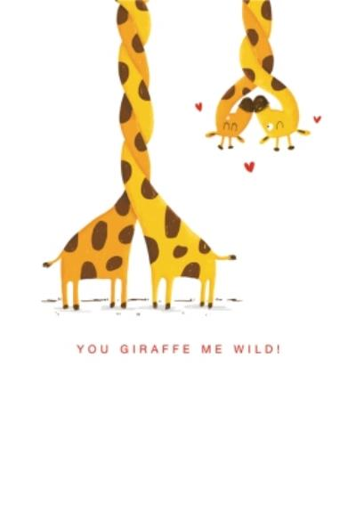 Modern Pun You Giraffe Me Wild Valentine's Day Card