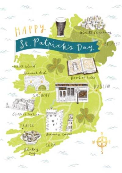 Map Of Ireland St Patricks Day Card