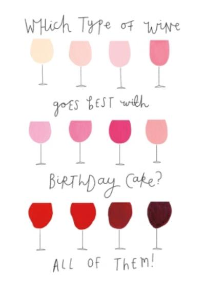 Which Type of Wine Funny Birthday Card  Card