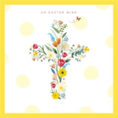 An Easter Wish Card Featuring Floral Cross