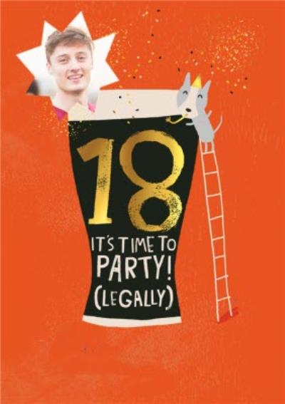 Personalised Photo Illustrated Beer 18th Birthday Card