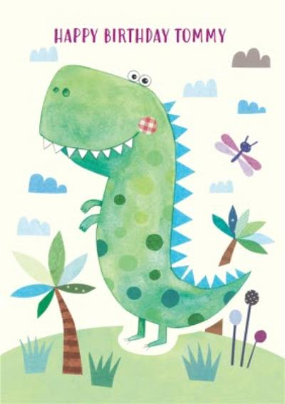 Watercolour T-Rex Personalised Happy Birthday Card