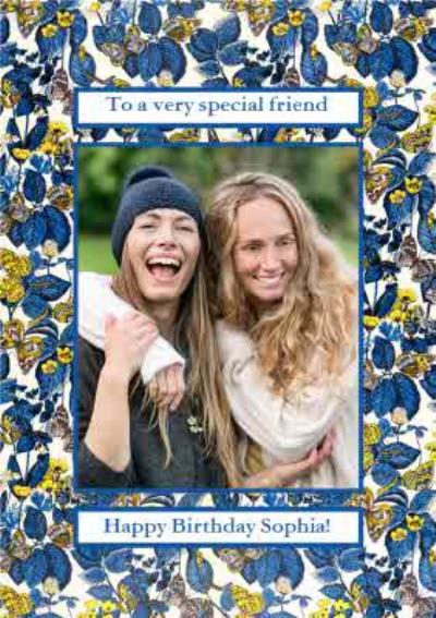 V&A Fashion and Textiles Collection Traditional Floral Special Friend Photo Upload Card