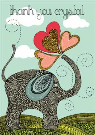 Valentina Elephant Personalised Thank You Card