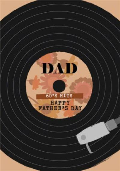 60s Hits Vinyl Record Happy Father's Day Card