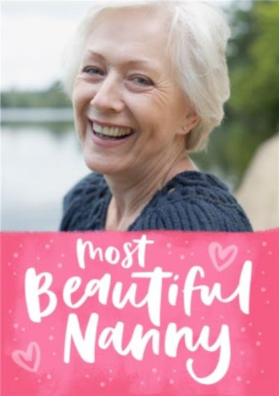 Bright Pink Most Beautiful Nanny Mother's Day Photo Card