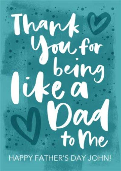 Modern Typographic Thank You For Being Like A Dad To Me Father's Day Card