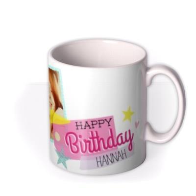 Happy Birthday Pink Tag Photo Upload Mug