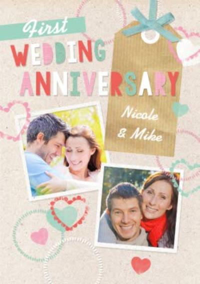 First Wedding Anniversary Photo Upload Postcard