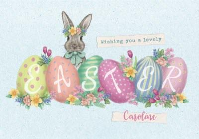 Easter Card - Wishing you a lovely Easte - Easter Eggs - bunny rabbit