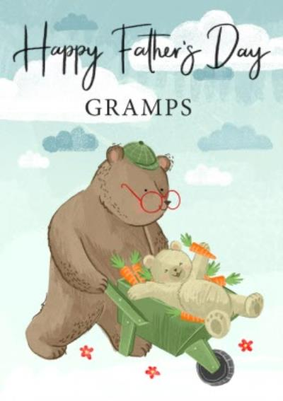 Cute Illustration Happy Fathers Day Gramps Card