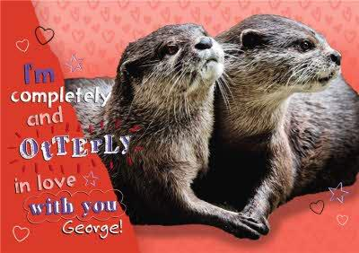 Otterly In Love With You Personalised Funny Pun Card