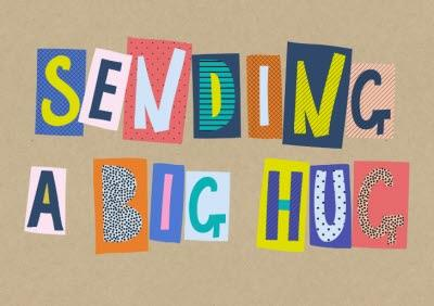Word Up Sending A Big Hug Big Block Letters Card