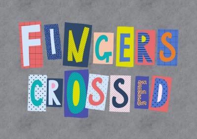 Word Up Fingers Crossed Card