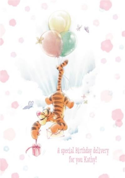 Winnie The Pooh Floating Tigger Personalised Birthday Card