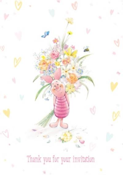 Disney Winnie The Pooh Piglet Flowers Personalised Thank You For Your Invite Card