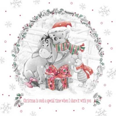 Disney Winnie The Pooh Special Time Personalised Merry Christmas Card