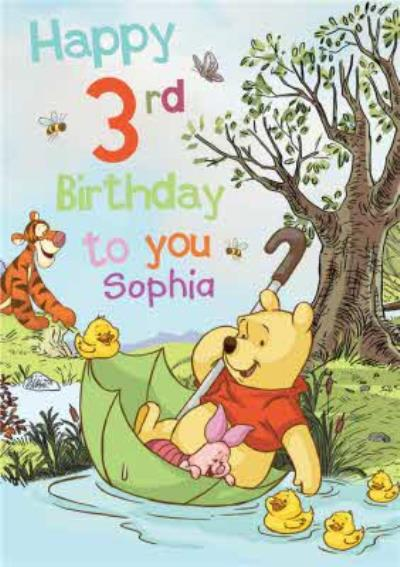 Disney Winnie The Pooh Happy Birthday To You Personalised Card