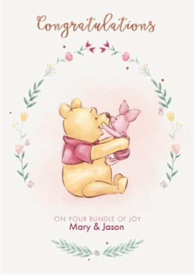 Disney Pooh Congratulations Baby Personalised Card
