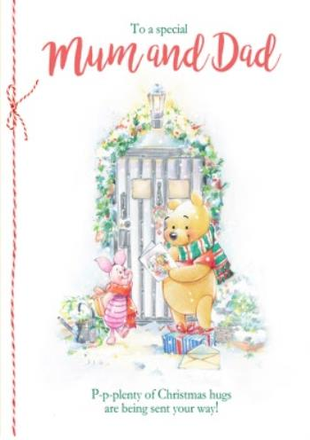 Disney Winnie The Pooh Mum Dad Christmas Card Moonpig