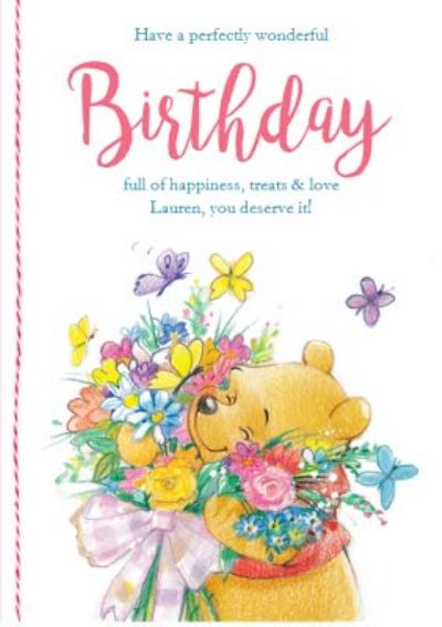 Birthday card - Winnie the Pooh with a bouquet of flowers