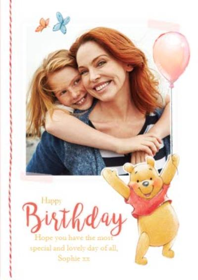 Winnie the Pooh Birthday card - Photo upload card