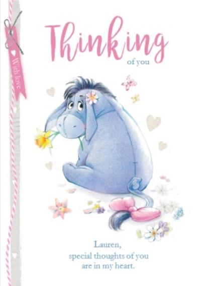 Thinking of you card - Winnie the Pooh - Eeyore