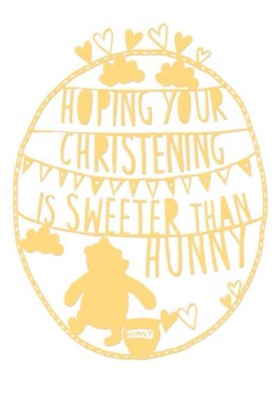 Sentimental Christening Card - Winnie The Pooh