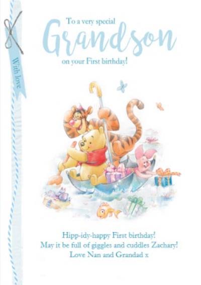 First Birthday Card - Grandson - Winnie The Pooh