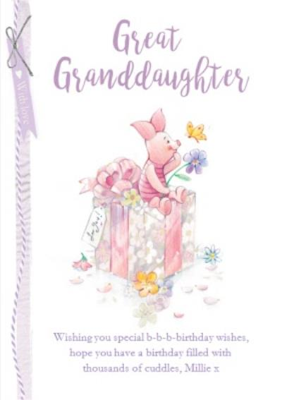 Disney Winnie the Pooh Great Granddaughter birthday Card
