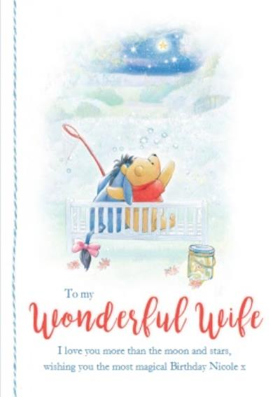 Disney Winnie the Pooh To my Wonderful wife Birthday Card