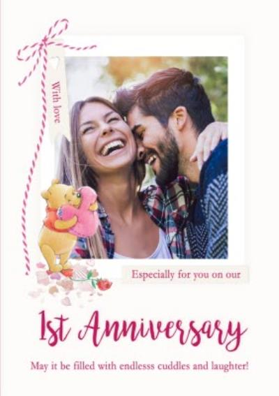 Disney Winnie The Pooh Endless Cuddles And Laughter 1st Anniversary Photo Upload Card