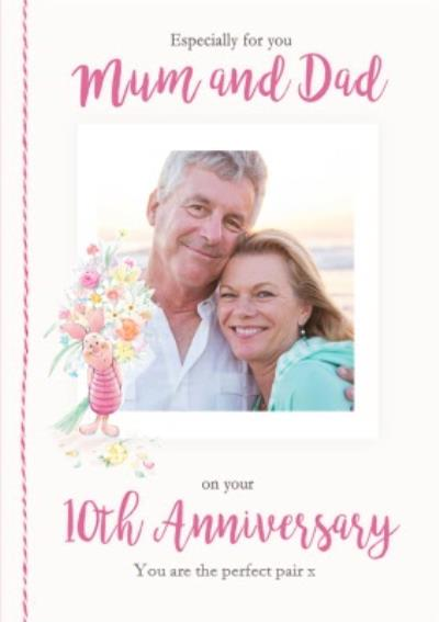Disney Winnie The Pooh Mum And Dad Perfect Pair 10th Anniversary Photo Upload Card
