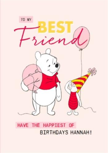 Remarkable Disney Winnie The Pooh Best Friend Birthday Card Moonpig Personalised Birthday Cards Veneteletsinfo