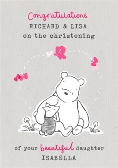 Winnie The Pooh Beautiful Daughter Christening Congratulations card