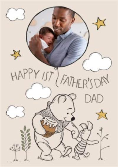 Winnie The Pooh 1st Father's Day Photo Upload Card