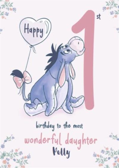 Disney Winnie The Pooh Wonderful Daughter 1st Birthday Card