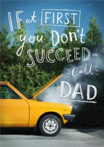 Call Dad Yellow Car Card