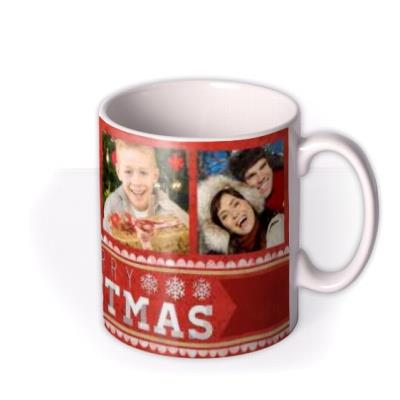 Merry Christmas Red Photo Upload Mug