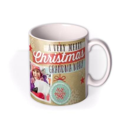 Merry Christmas Wrapping Paper Photo Upload Mug