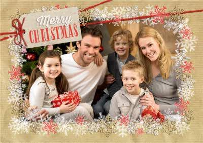 Red And White Snowflakes Merry Christmas From The Family Card