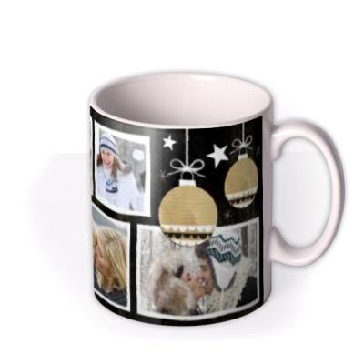 Merry Christmas Black Tag Photo Upload Mug