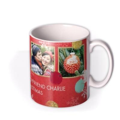 Christmas Spots and Snowflakes Photo Upload Mug