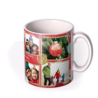 Christmas Spots and Snowflakes Collage Photo Upload Mug