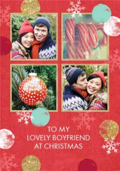 Red And Gold 4 Square Personalised Photo Upload Christmas Card For Boyfriend