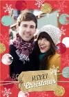 Red And Gold Border Personalised Photo Upload Merry Christmas Card