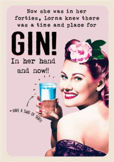 Funny retro gin Birthday Card for her - Alcohol - Drinking